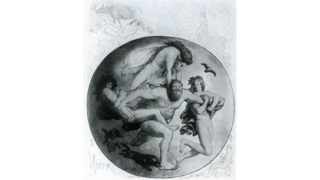 Ymir ucciso da Odino e dai suoi fratelli Víli e Vé - Lorenz Frølich