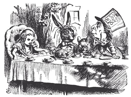 Alice, la Lepre Marzolina e il Cappellaio Matto di John Tenniel