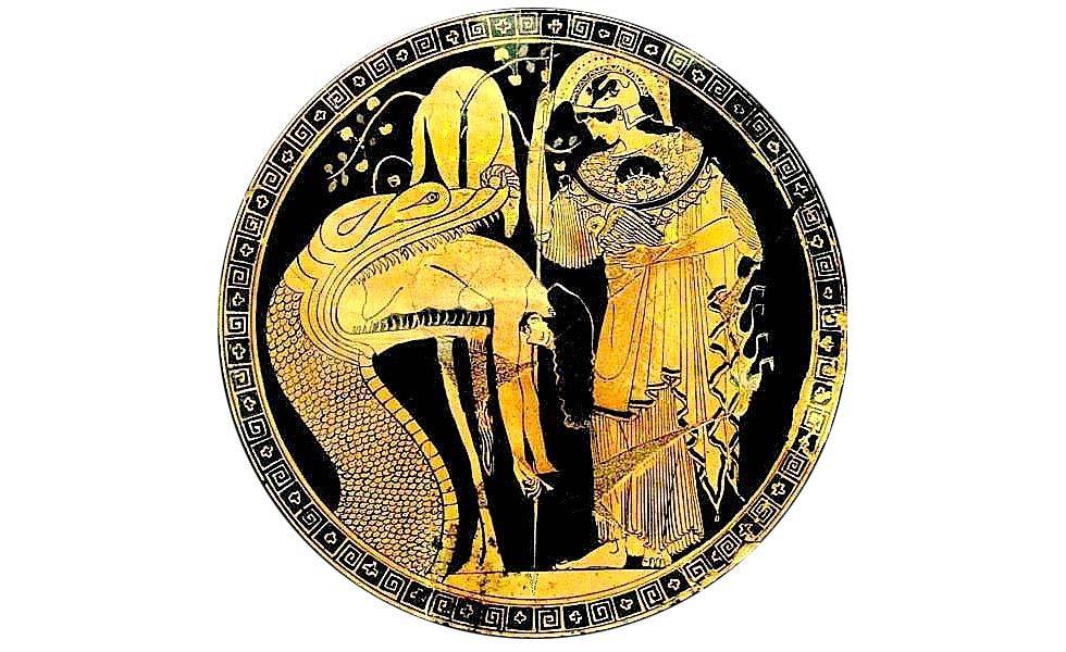 Atena con l'Egida davanti al serpente che rigurgita Giasone - Ceramografo Duride, quinto secolo avanti Cristo