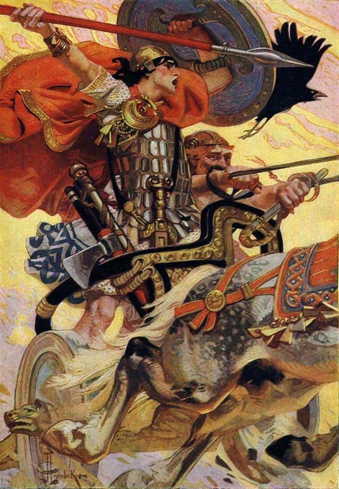 Cu Chulainn in battaglia - Joseph Christian Leyendecker, 1911