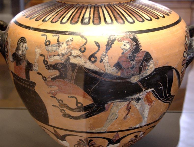 Eracle e Cerbero - ceramica a figure nere - Eagle painter - Caere (Cerveteri), 525 avanti Cristo