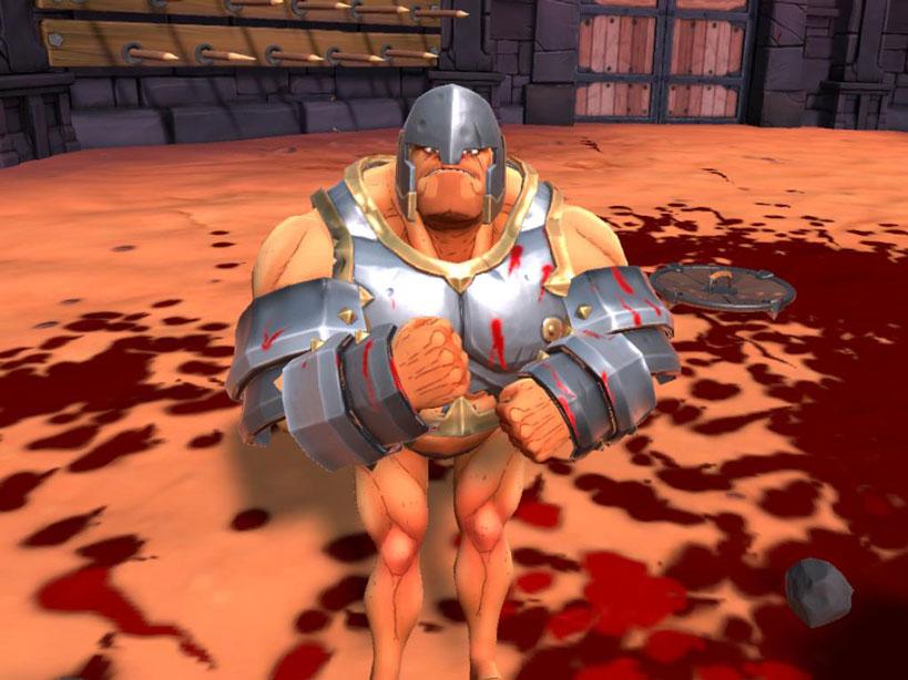 Gladiatore in GORN, con armatura sugli arti superiori, e con elmo