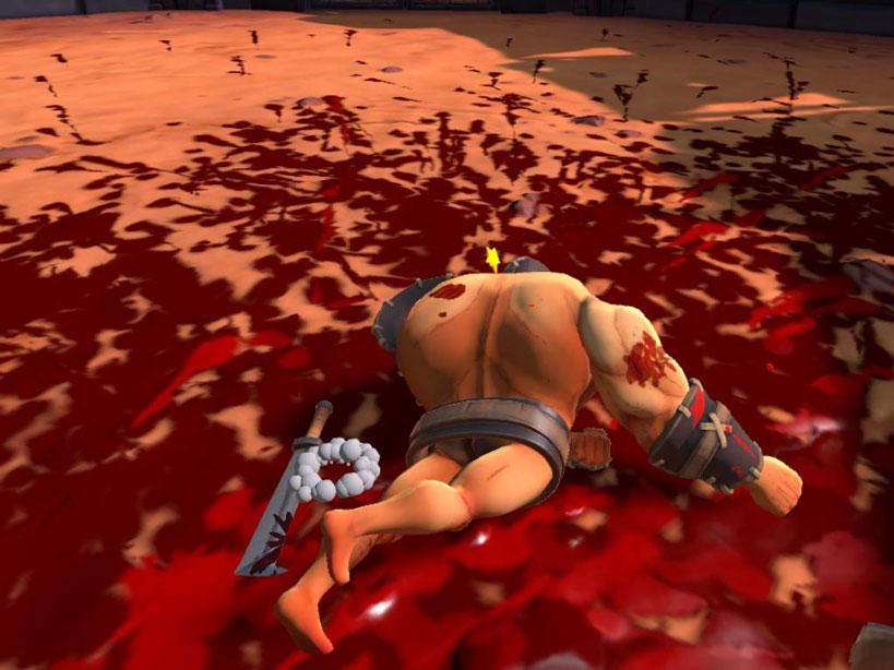 Gladiatore di GORN a terra, dopo che ha perso l'arma