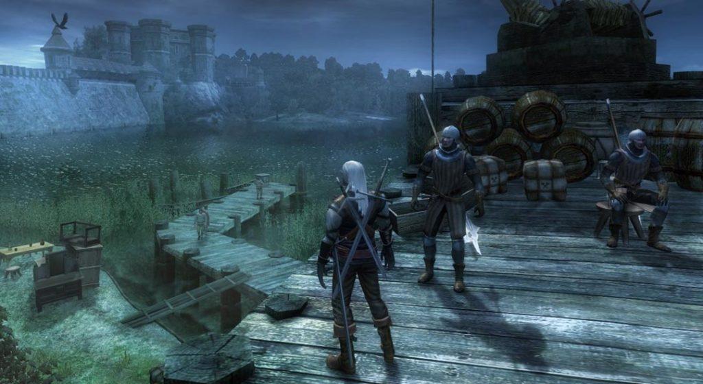 Geralt di Rivia nel primo gioco della saga di The Witcher