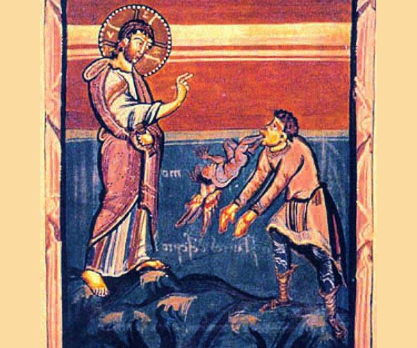 Gesù esorcizza l'indemoniato di Gerasa - miniatura medievale