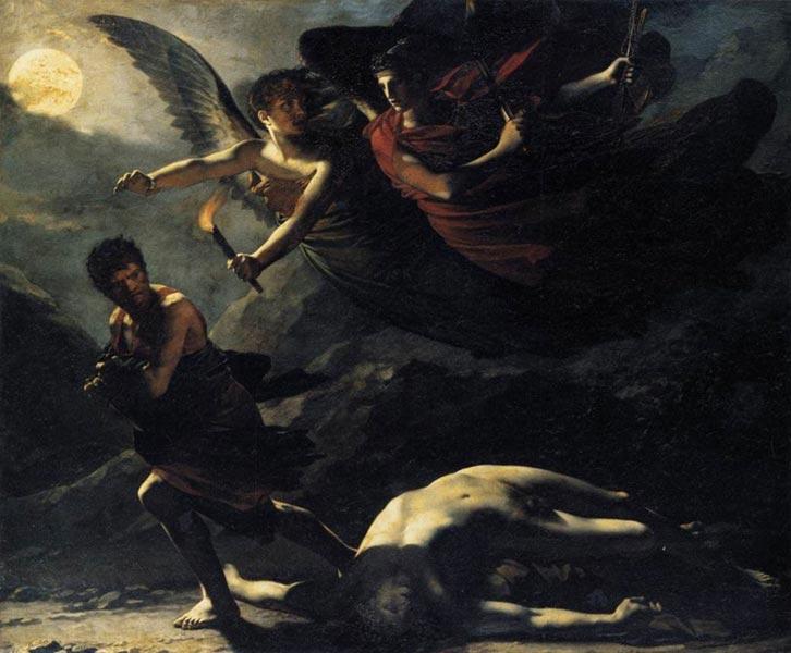 Giustizia, a sinistra, e Nemesi, a destra, inseguono un omicida - Pierre-Paul Prud'hon, 1808