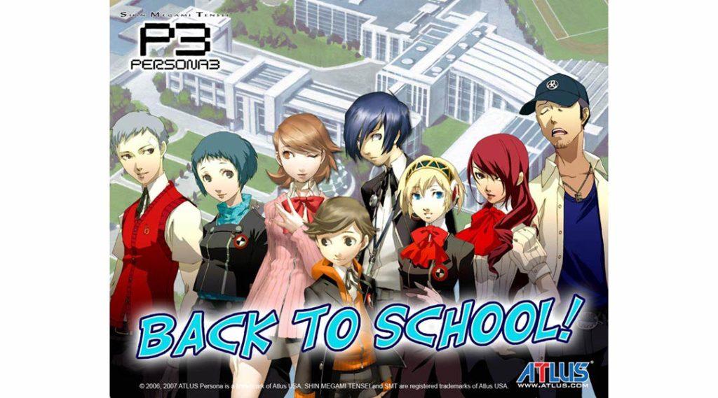 Gli studenti davanti all'Istituto Superiore Gekkoukan di Persona 3