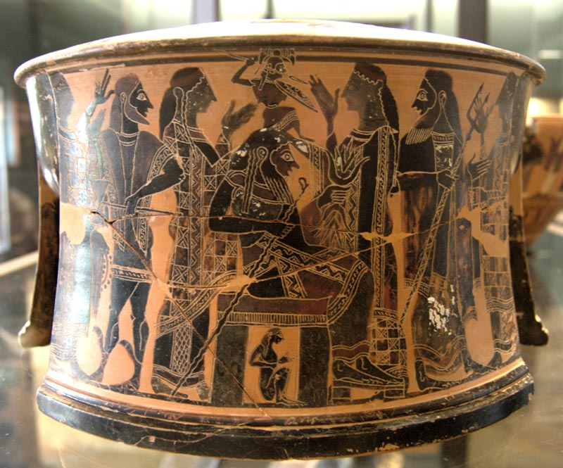 La nascita di Atena - tripode a figure nere - 570 - 560 avanti Cristo, Tebe