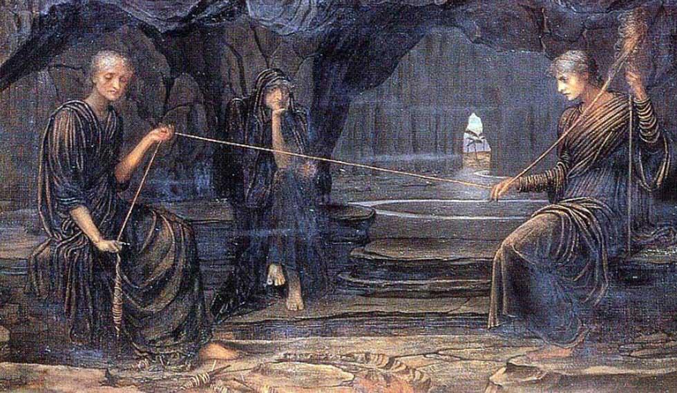 Le Moire - A Golden Thread (olio su tela) - John Strudwick, 1885
