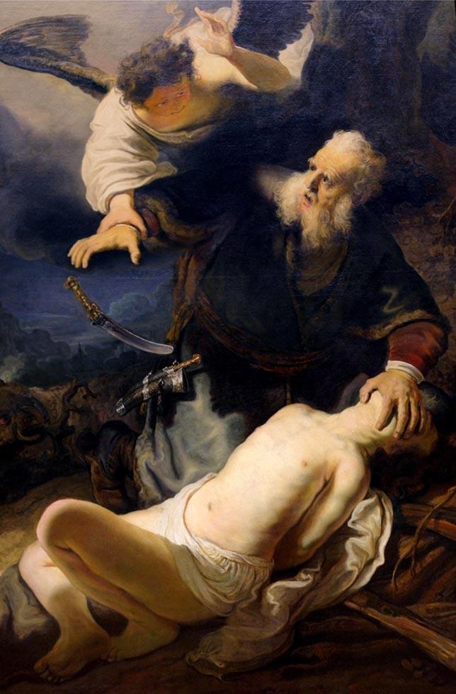 Metatron impedisce ad Abramo di sacrificare il figlio Isacco - dipinto di Rembrandt