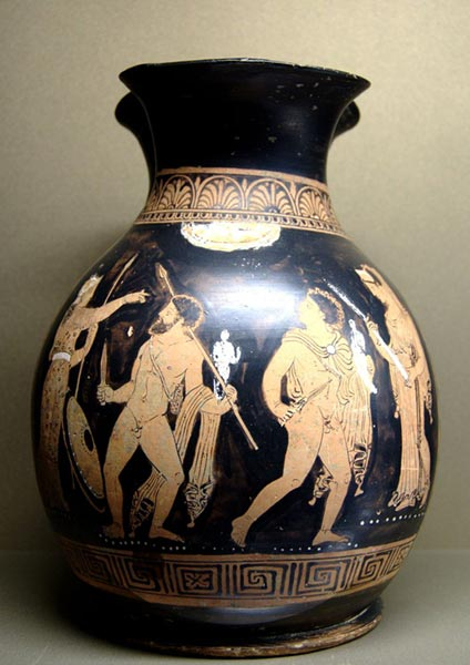 Odisseo e Diomede sottraggono il Palladio - ceramica e figure rosse - Reggio Calabria, 360 -350 a.C. - Museo del Louvre