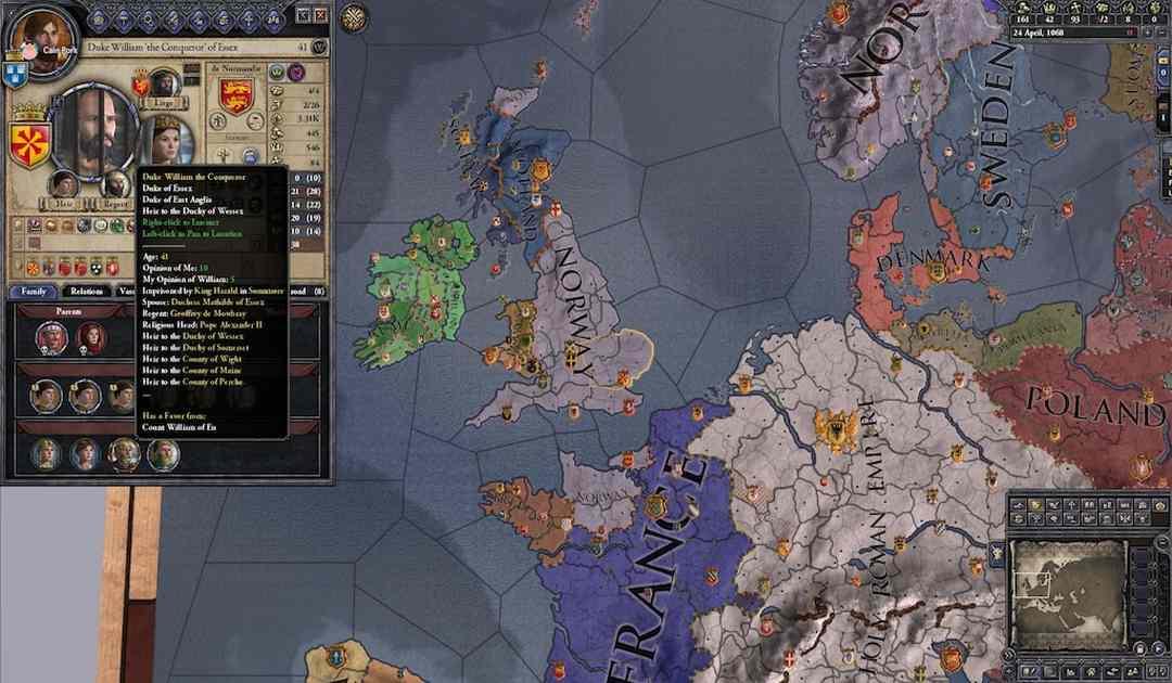 Mappa di gioco di Crusader Kings II