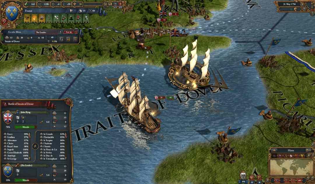 Screenshot di una battaglia navale in Europa Universalis IV