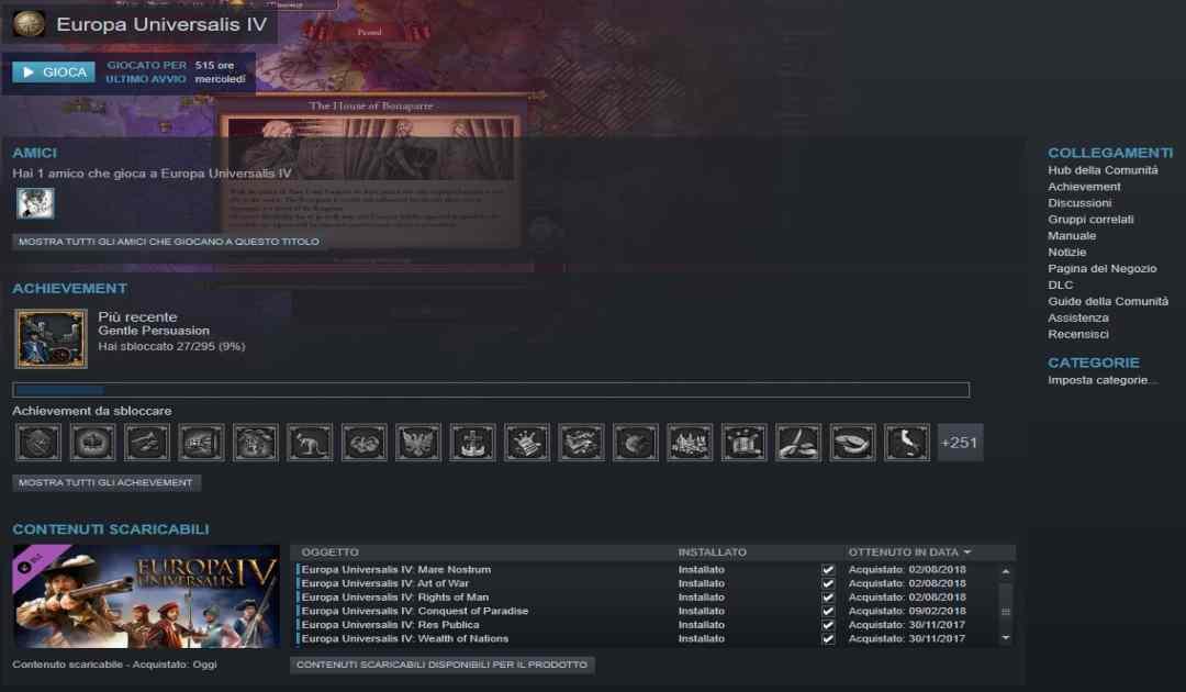 Screenshot di una libreria steam con Europa Universalis IV