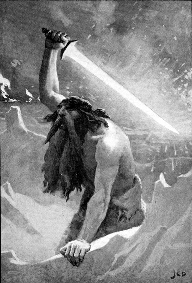 Surtr, il gigante con la spada - John Charles Dollman - dal Myths of the Norsemen from the Eddas and Sagas di Helene Adeline Guerber - Londra, 1909