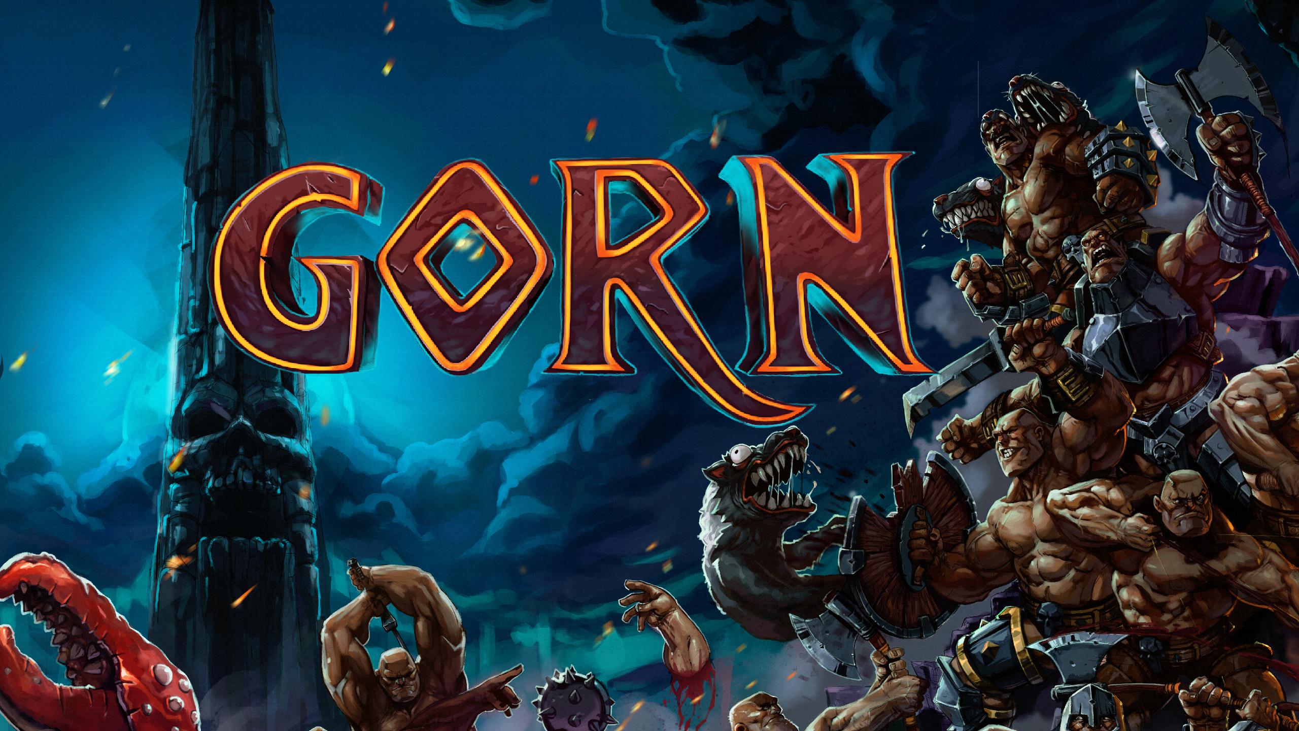 Copertina del gioco GORN, con gladiatori e bestie