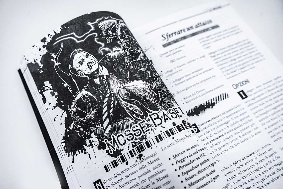 L'interno del manuale del gioco di ruolo Urban Shadows