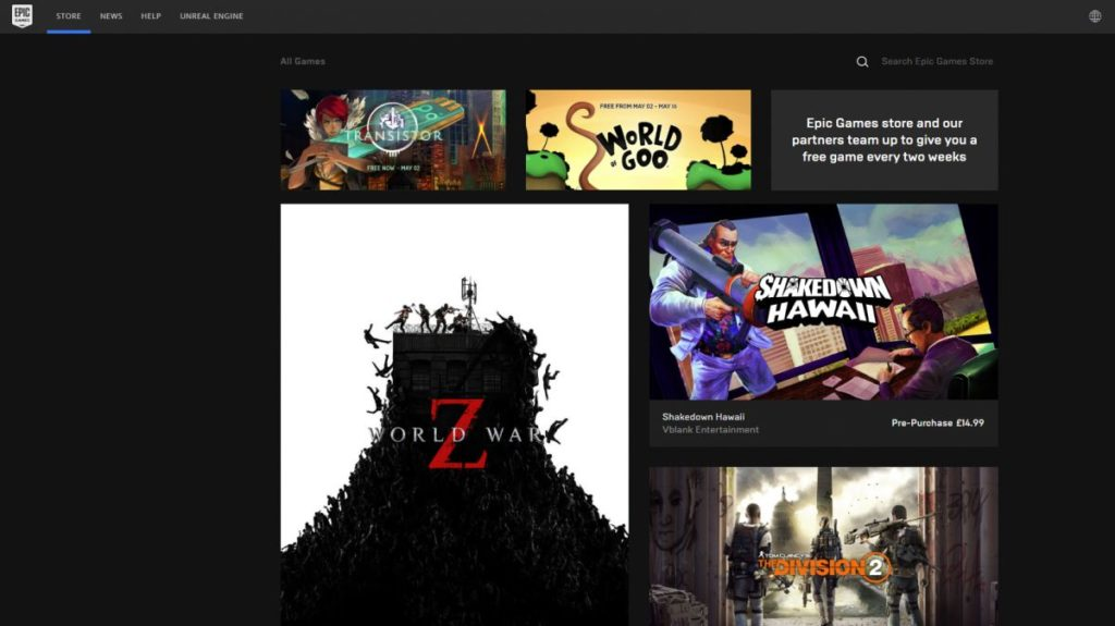 Epic Games Store interface