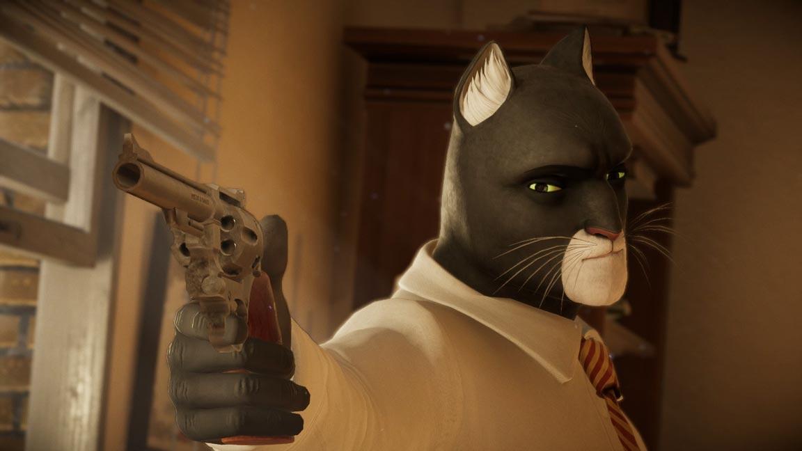 Screenshot in primo piano con il detective blacksat, un gatto nero dal muso bianco
