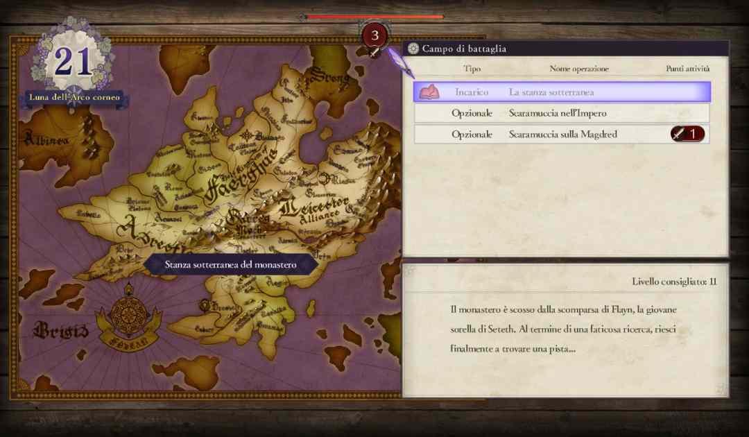 Screenshot della selezione delle battaglie secondarie su Fire Emblem Three Houses