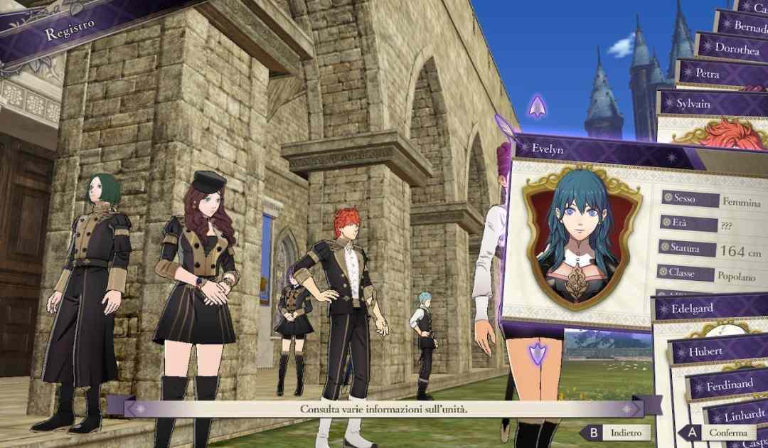 Screenshot da Fire Emblem Three Houses che rappresenta il Registro, contenente informazioni sui nostri studenti