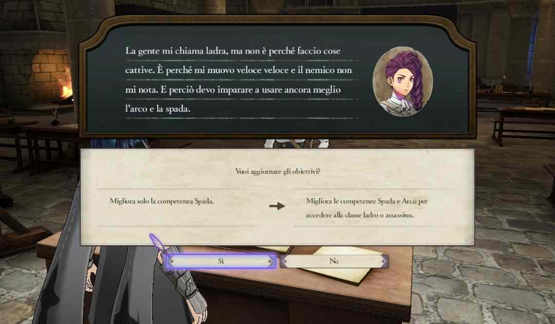Screenshot da Fire Emblem Three Houses che mostra una studentessa chiedere consiglio al protagonista durante una lezione