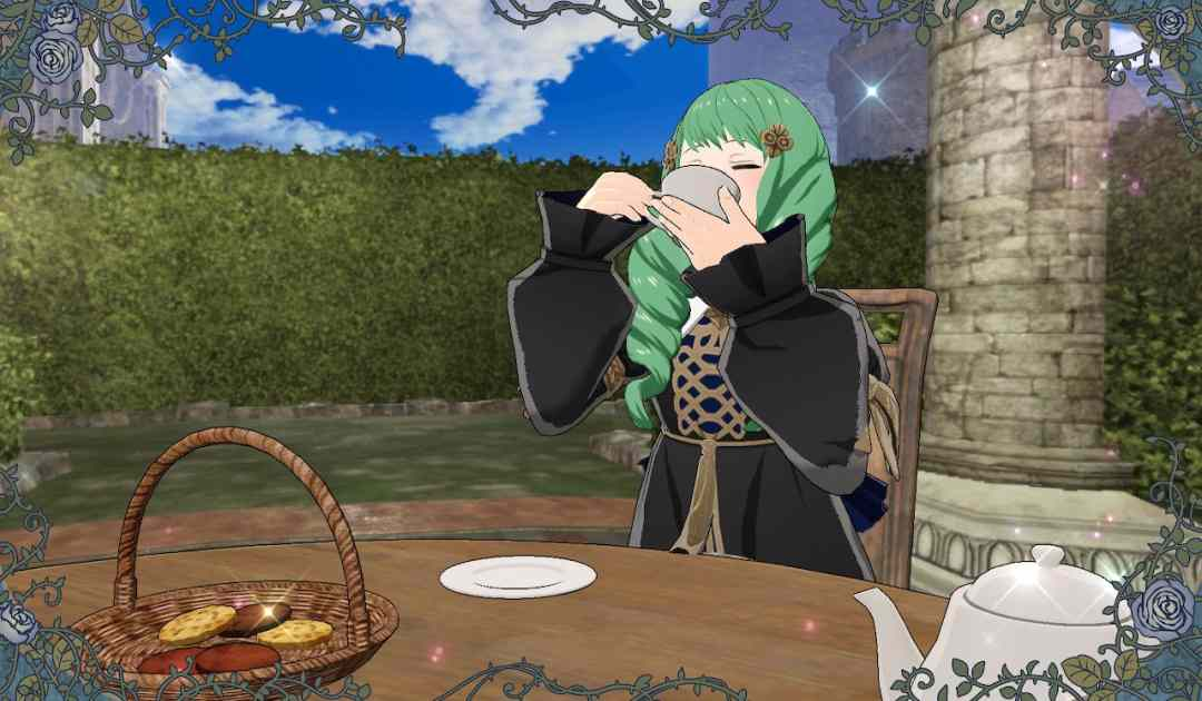 Screenshot da Fire Emblem Three Houses che mostra un invito al tè