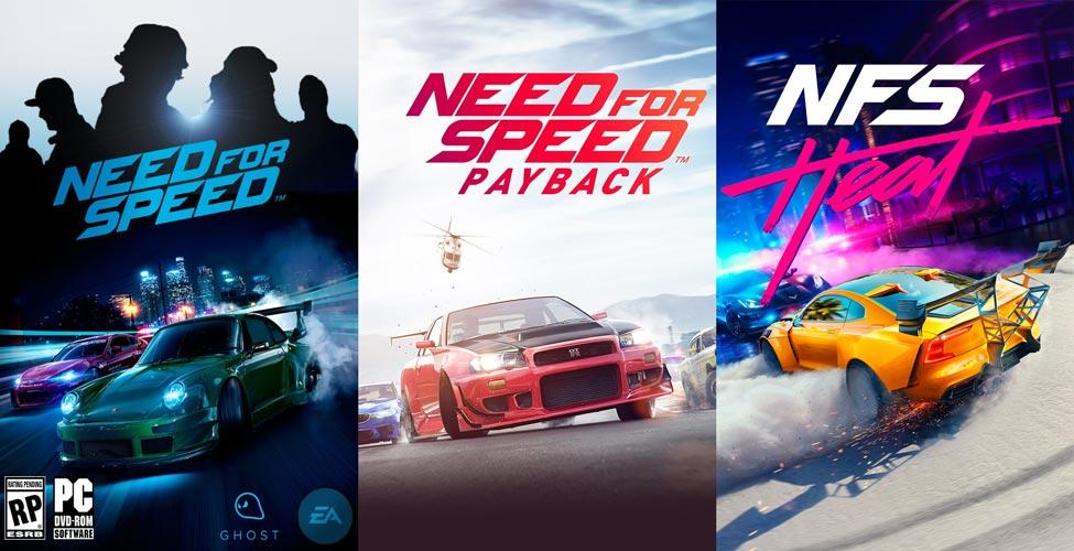 Il confronto tra le tre copertine degli ultimi Need for Speed