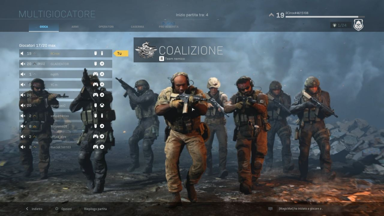 Call of Duty Modern Warfare lobby