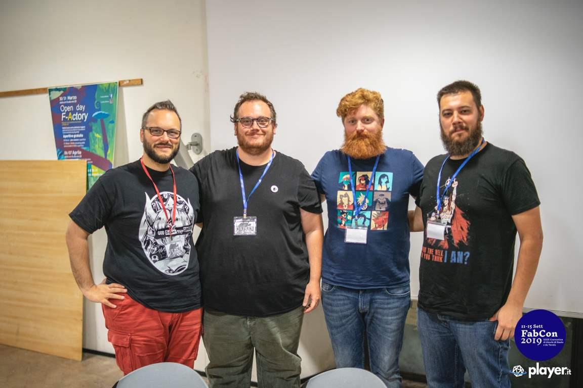 Valentino Cinefra, Alex Melluso, Andrea Lucca e Roberto Rossi conferenza stato gdr italiano Fabcon 2019
