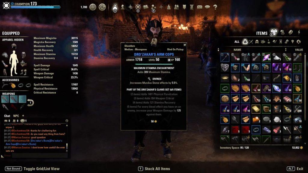 Il loot del dungeon Moongrave Fane