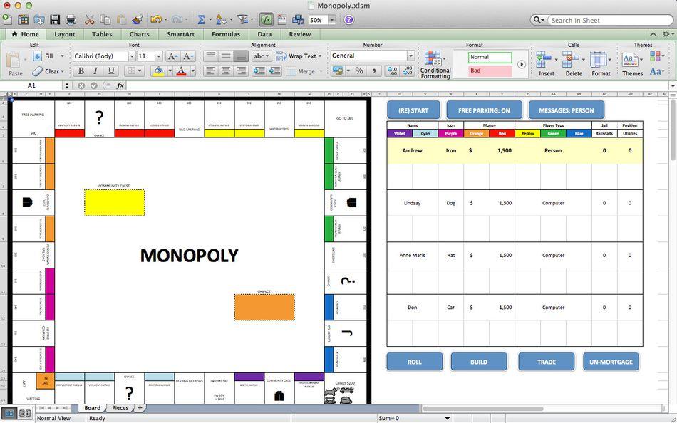 Monopoli, i migliori giochi di Microsoft Excel