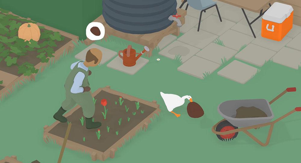 oca scappa dal giardiniere con il cappello