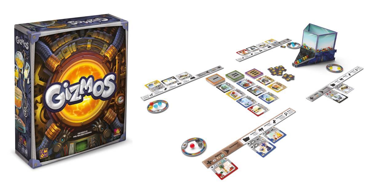 Copertina e contenuti del boardgame Gizmos