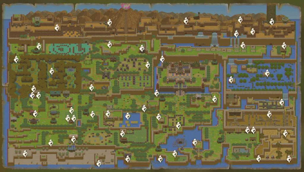 Link's Awakening Switch, mappa con posizione di tutte le conchiglie nascoste