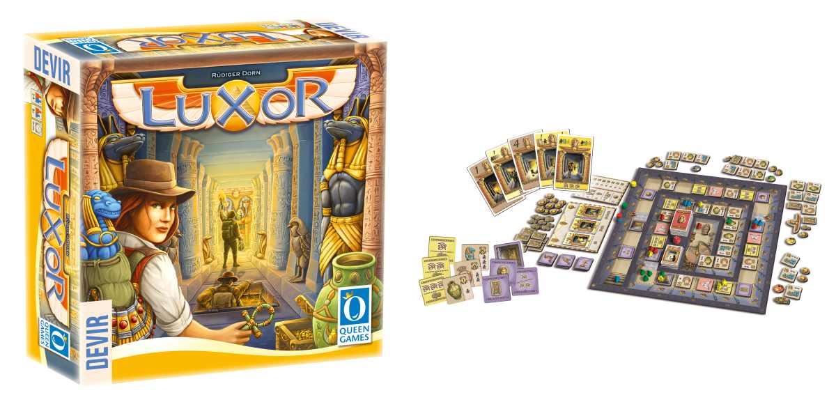 Copertina e componenti del boardgame Luxor