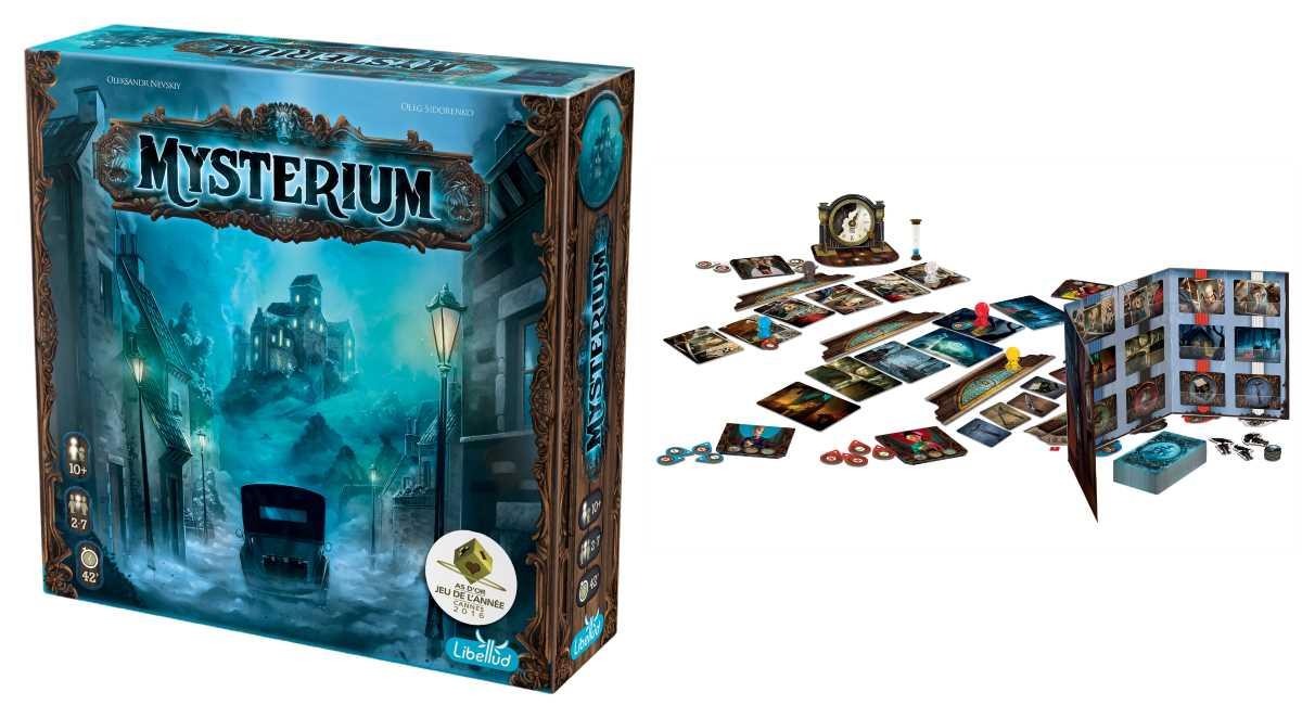Copertina e componentistica del boardgame Mysterium
