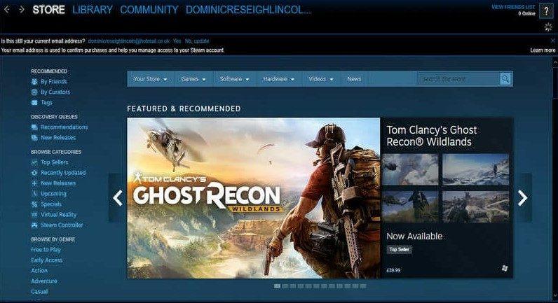 Una schermata di Steam