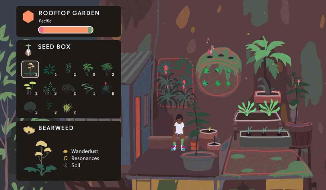 Screenshot da Mutazione che mostra una sessione di giardinaggio