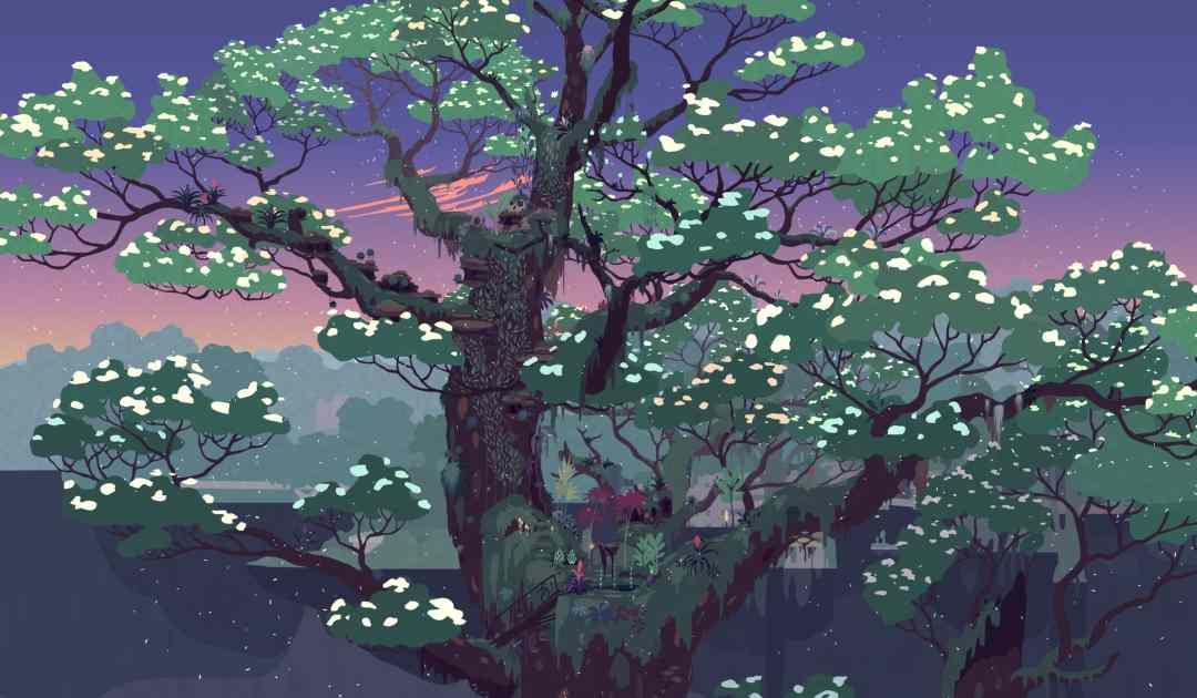 Screenshot da Mutazione che raffigura l'albero Papu in fiore