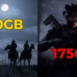 Le copertine di Red dead redemption e Call of duty modern warfare, con indicata sopra la dimensione su disco