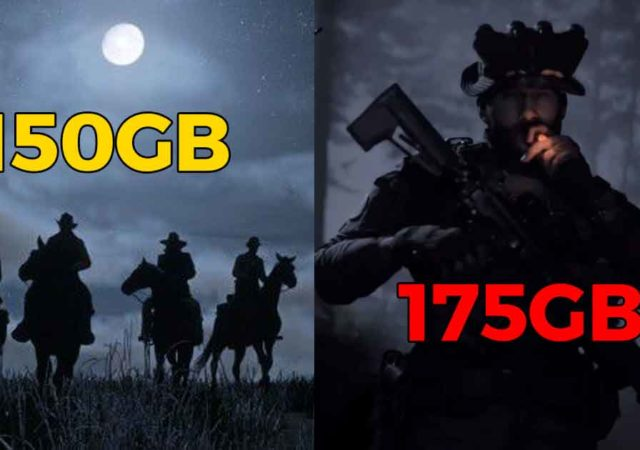 Le copertine di Red dead redemption e Call of duty modern warfare, con indicata sopra la dimensione su disco