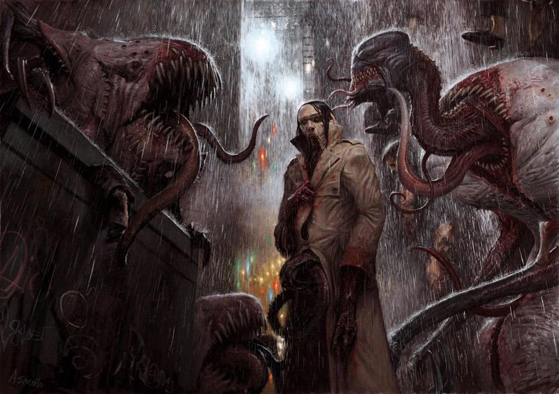 Adrian Smith mostra, Mostra Lucca Comics & Games 2019, A World of Hate, illustrazione fantasy, illustratore, incontro con l'autore, illustrazione bianco e nero, Illustrazione digitale, 7 Sins - The Others - Gola - Gluttony, Sloth