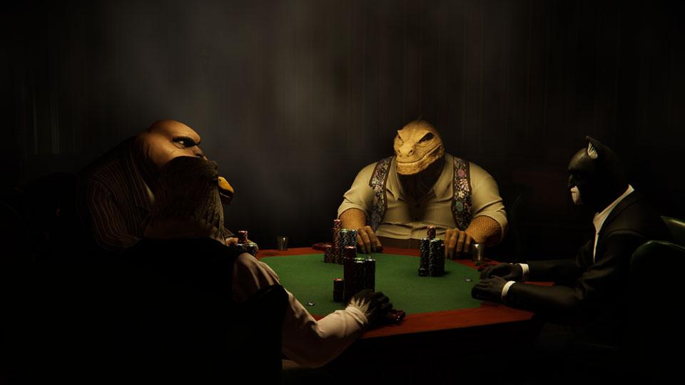 Quattro personaggi giocano a poker in una stanza poco illuminata