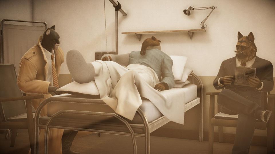 Scena in ospedale con Blacksad, l'amico poliziotto, ed un ferito con la gamba ingessata