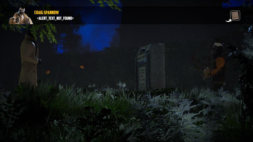 Imamgine di Blacksad al cimitero, con un testo contenente un errore in sovraimpressione