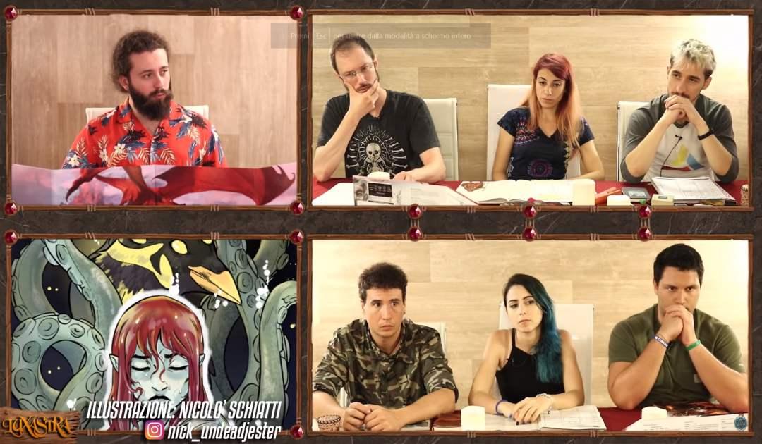 Screenshot dall'episodio 10 di Luxastra in cui Dalia tenta di rappresentare le proprie sensazioni scaturite dall'incontro col Banco