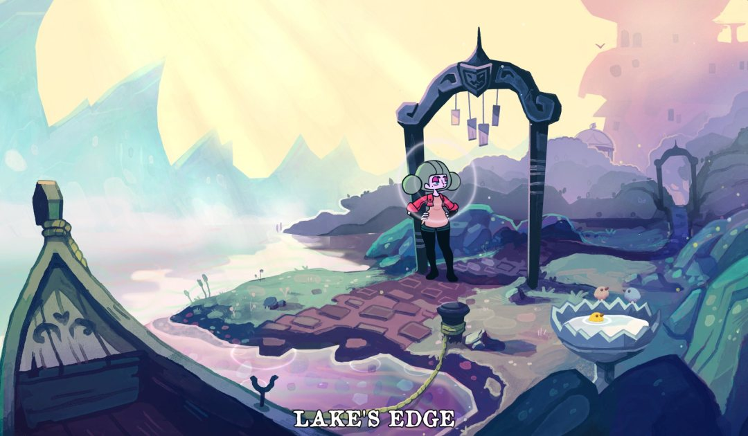 Screenshot della sponda del lago in Tangle Tower