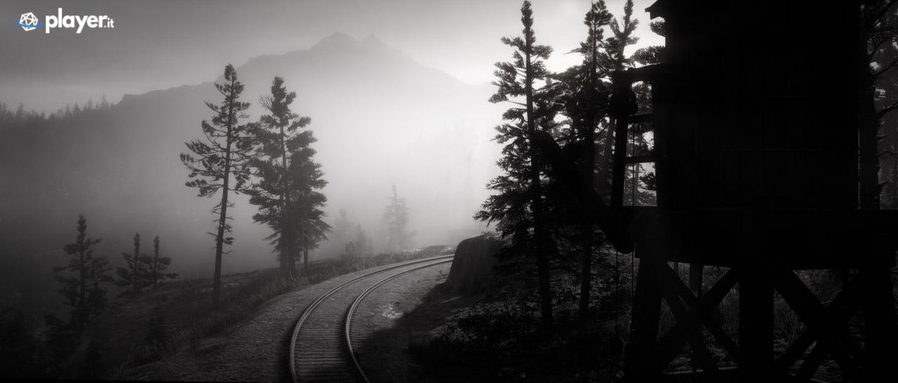 Treno in arrivo sul binario in Red Dead Redemption 2