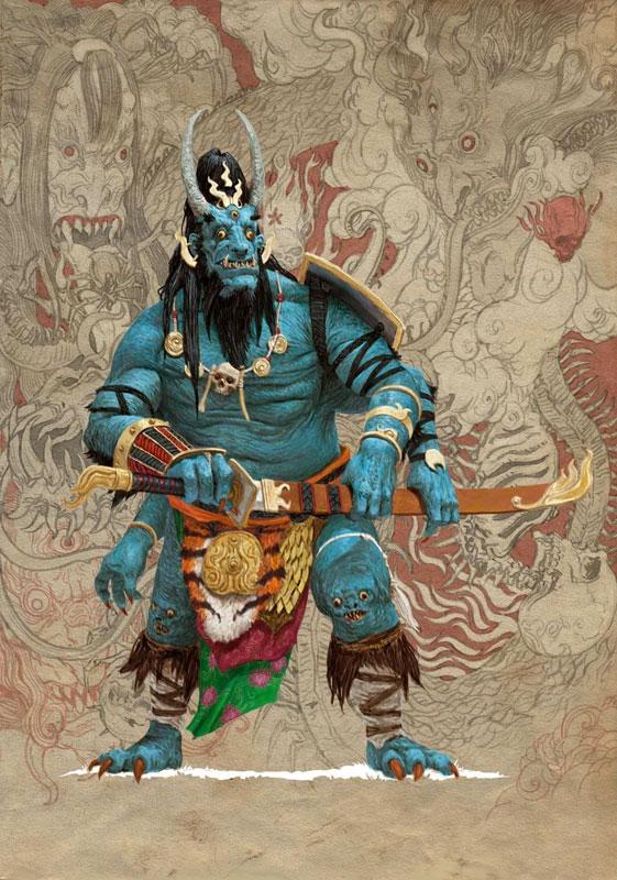 Adrian Smith mostra, Mostra Lucca Comics & Games 2019, Rising Sun, A World of Hate, illustrazione fantasy, illustratore, incontro con l'autore, illustrazione bianco e nero, Illustrazione digitale, Stile giapponese, Oni